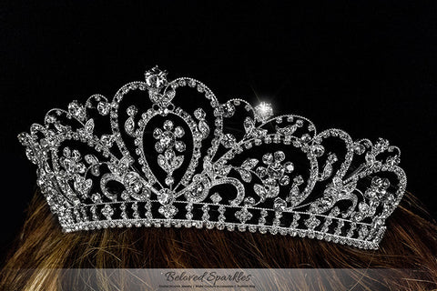 Lorelei Royal Statement Silver Tiara | Swarovski Crystal - Beloved Sparkles  - 3