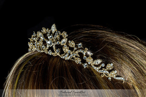 Nedda Art Deco Filigree Tiara | Gold | Swarovski Crystal - Beloved Sparkles  - 4