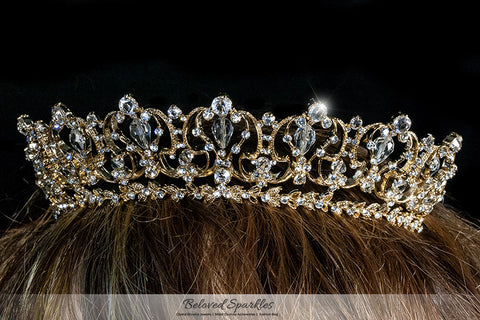 Marissa Vintage Art Deco Gold Tiara | Swarovski Crystal - Beloved Sparkles  - 4