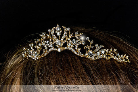 Dita Floral Filigree Gold Tiara | Swarovski Crystal - Beloved Sparkles  - 4