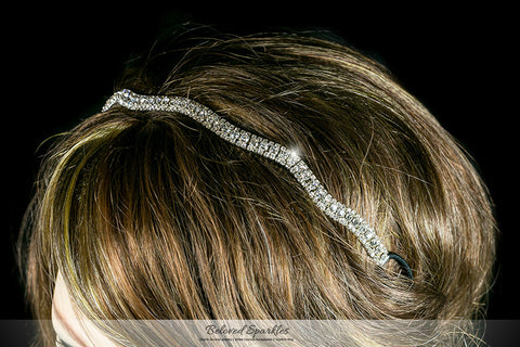 Rita Wavy Rhinestone Stretch Headband | Rhinestone - Beloved Sparkles  - 4