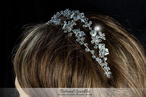 Cherise Two Row Flower Silver Headband | Swarovski Crystal - Beloved Sparkles  - 4