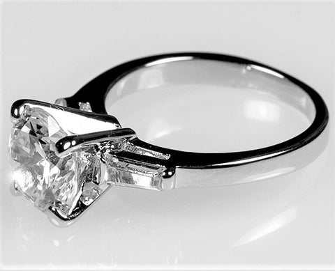 Cheryl Round Solitaire with Baguette Engagement Ring | 3ct | Cubic Zirconia