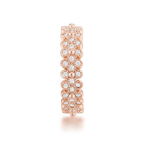 Clara CZ Textured Bezel Rose Goldtone Eternity Ring