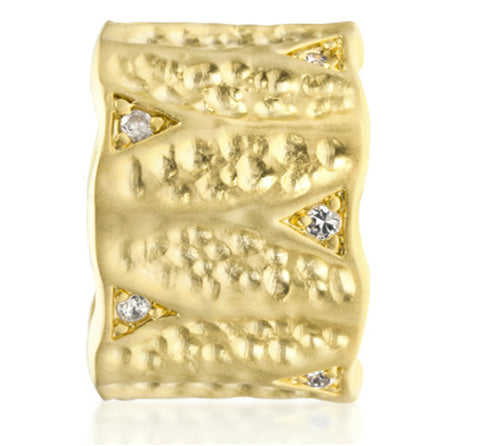 Emilia Textured Matte Golden Eternity Ring | 0.5ct | Cubic Zirconia | 18k Gold - Beloved Sparkles  - 4