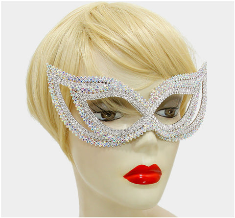 Frances Double Cluster Cat Eye Crystal Silver Masquerade Mask. - Beloved Sparkles  - 4