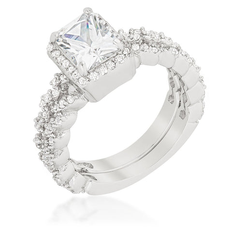 Genna 1ct Radiant Halo Engagement and Wedding Ring Set | 3.5ct