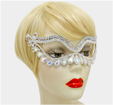 Itica Tear Drop Halo Masquerade Mask | Silver | Crystal - Beloved Sparkles  - 4