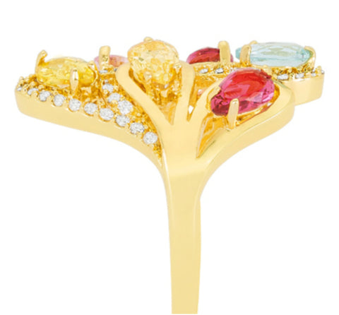 Izebe Multi Color Cluster Gold Cocktail Ring  | 5 Carat | 18k Gold | Cubic Zirconia - Beloved Sparkles  - 4