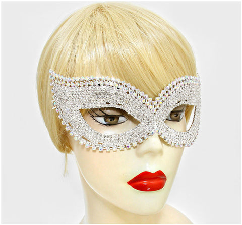 Juleen Cluster Statement Cat Eye Masquerade Mask | Silver | Crystal - Beloved Sparkles  - 4