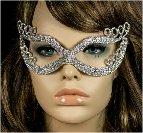 Kinza Crystal Loops Silver Masquerade Mask | Silver | Crystal - Beloved Sparkles  - 4