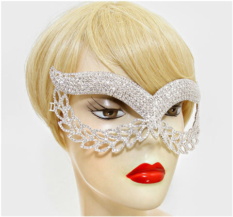 Maddie Exquisite Cat Eye Masquerade Mask | Silver | Crystal - Beloved Sparkles  - 4