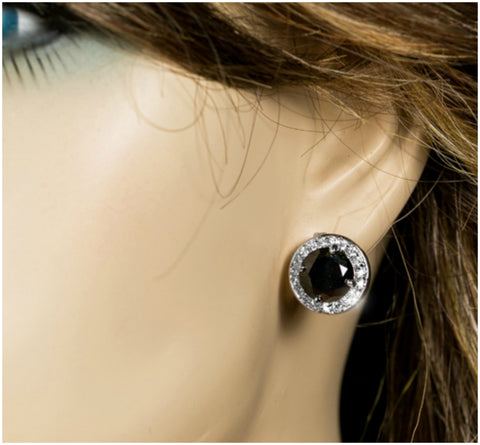 Matia Black Onyx Round Stud Earrings – 15mm | 5.5ct | Cubic Zirconia | Silver - Beloved Sparkles
