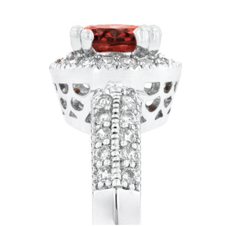 Orene Ruby Round Halo Engagement Ring | 3ct | Cubic Zirconia - Beloved Sparkles  - 4