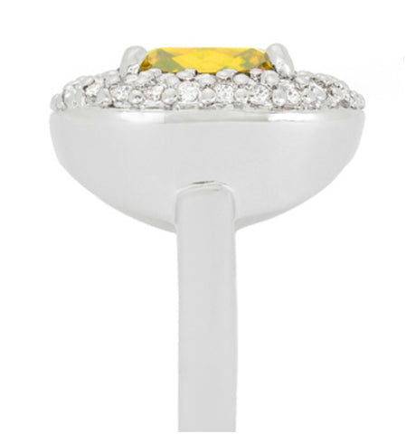 Regina Canary Yellow Cushion Cut Cocktail Ring | 5 Carat | Cubic Zirconia - Beloved Sparkles  - 4