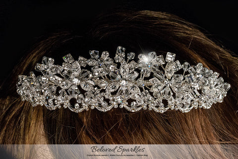 Azalea Crystal Flower Silver Tiara | Swarovski Crystal - Beloved Sparkles  - 4