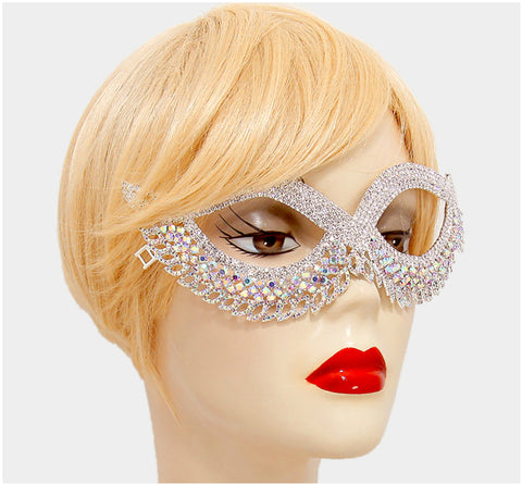Teri Classic Cat Eye Crystal Silver Masquerade Mask. - Beloved Sparkles  - 4