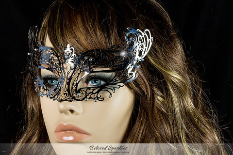 Liana Silver Metal Lace Masquerade Mask | Metal - Beloved Sparkles  - 4