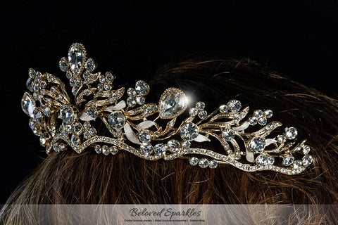 Sabella Victorian Art Deco Gold Tiara | Swarovski Crystal - Beloved Sparkles  - 5