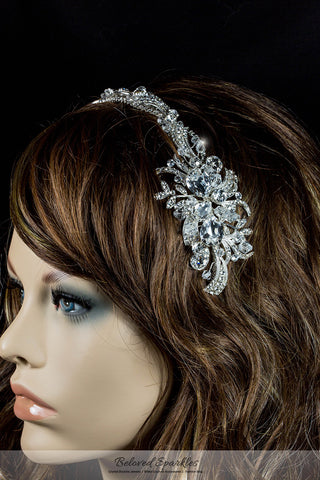 Keena Ribbon Cluster Silver Headband | Swarovski Crystal - Beloved Sparkles  - 5