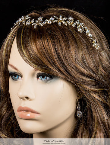 Loretta Flower Forehead Gold Headband| Swarovski Crystal - Beloved Sparkles  - 4