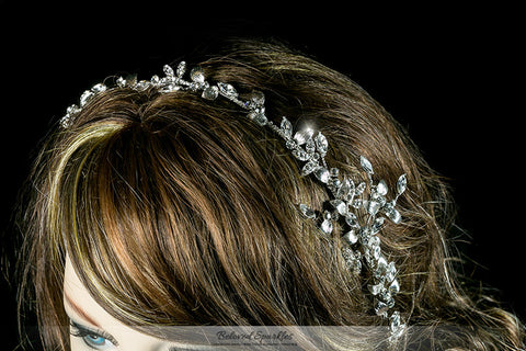 Trista Silver Leaf Hair Tie Headband | Swarovski Crystal - Beloved Sparkles  - 5