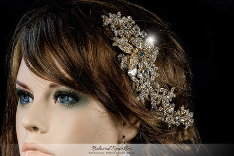 Lizabeth Ila Long Floral Cluster Gold Hair Clip | Swarovski Crystal - Beloved Sparkles  - 5