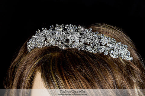 Leda Cluster Statement Silver Tiara | Swarovski Crystal - Beloved Sparkles  - 5