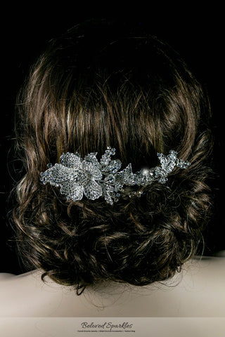 Adele Vintage Flower Statement Hair Comb | Swarovski Crystal - Beloved Sparkles  - 3