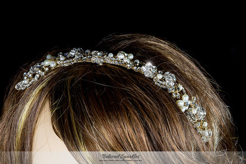 Eva Floral Pearl Gold Headband | Swarovski Crystal - Beloved Sparkles  - 5