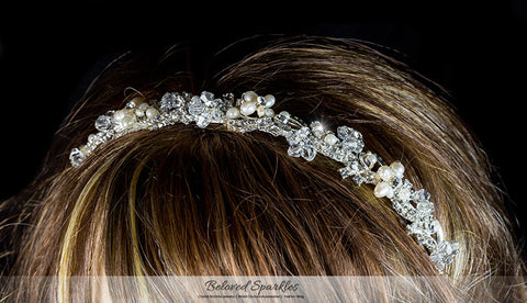 Eva Floral Cream Pearl Silver Headband | Swarovski Crystal - Beloved Sparkles  - 5