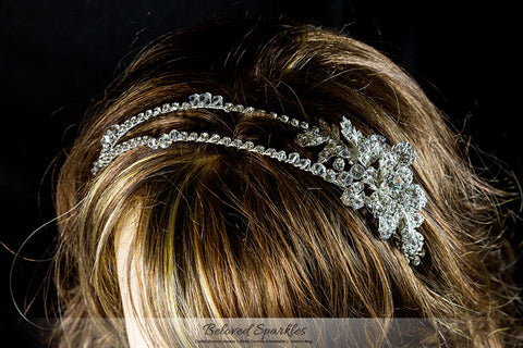 Sandra Two Row Floral Silver Headband | Swarovski Crystal - Beloved Sparkles  - 5