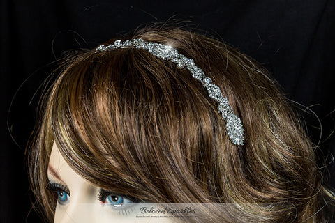 Kristy Art Deco Cluster Silver Headband | Swarovski Crystal - Beloved Sparkles  - 5