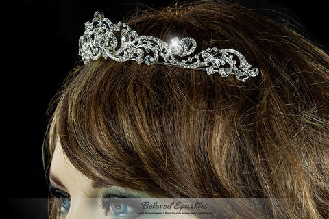 Brianna Romantic Royal Silver Tiara | Swarovski Crystal - Beloved Sparkles  - 5