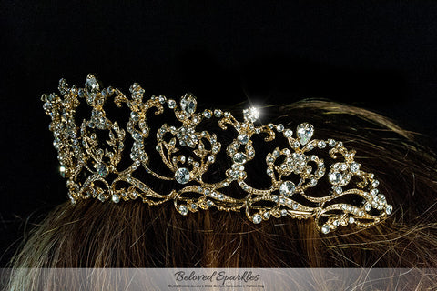 Olina Heart Cluster Gold Tiara | Swarovski Crystal - Beloved Sparkles  - 5