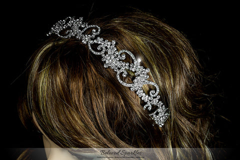 Bethany Swirl Filigree Silver Headband | Swarovski Crystal - Beloved Sparkles  - 4
