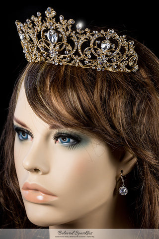 Lucia Victoria Statement Gold Tiara | Swarovski Crystal - Beloved Sparkles  - 5