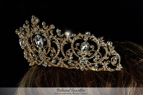 Lucia Victoria Statement Gold Tiara | Swarovski Crystal - Beloved Sparkles  - 6