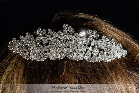 Madison Garden Cluster Silver Tiara | Swarovski Crystal - Beloved Sparkles  - 5