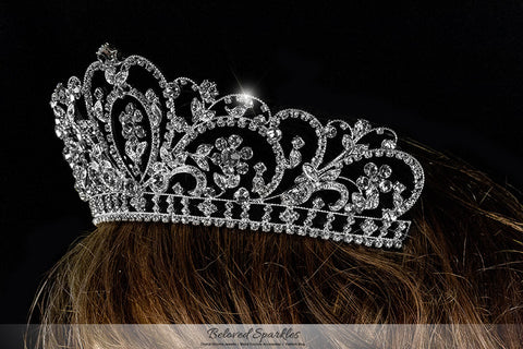 Lorelei Royal Statement Silver Tiara | Swarovski Crystal - Beloved Sparkles  - 5