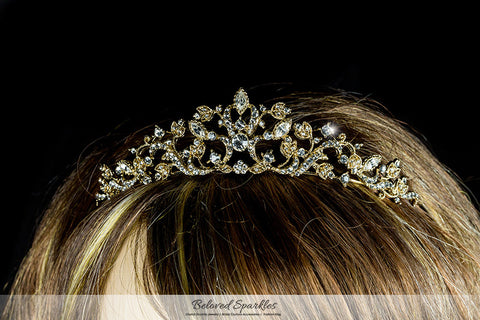 Nedda Art Deco Filigree Tiara | Gold | Swarovski Crystal - Beloved Sparkles  - 5