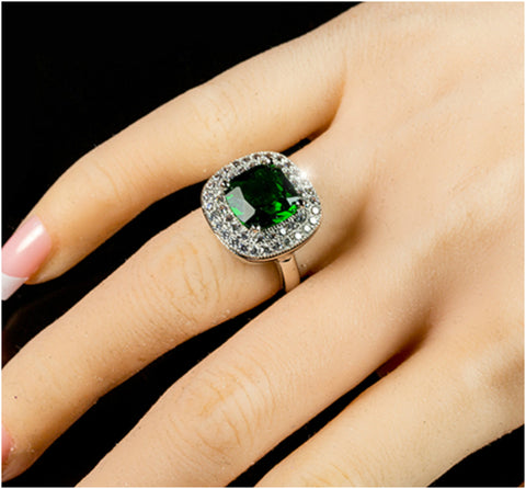 Blair Emerald Green Cushion Cut Cocktail Ring | 5 Carat | 3 Carat | Cubic Zirconia - Beloved Sparkles  - 5