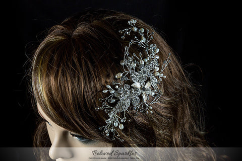 Vicky Floral Spray White Pearl Hair Comb | Pearl | Swarovski Crystal - Beloved Sparkles  - 5