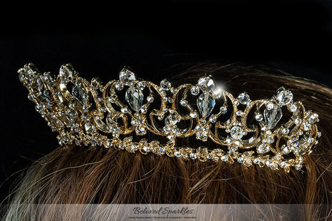 Marissa Vintage Art Deco Gold Tiara | Swarovski Crystal - Beloved Sparkles  - 5