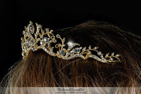 Dita Floral Filigree Gold Tiara | Swarovski Crystal - Beloved Sparkles  - 5