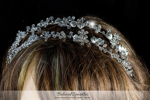 Cherise Two Row Flower Silver Headband | Swarovski Crystal - Beloved Sparkles  - 5