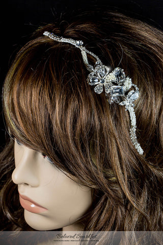 Rosalba Twin Flower Pearl Silver Headband | Swarovski Crystal - Beloved Sparkles  - 4