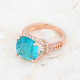 Charlene Aqua Blue Rose Gold Classic Statement Cocktail Ring | 8ct | Cubic Zirconia - Beloved Sparkles  - 5