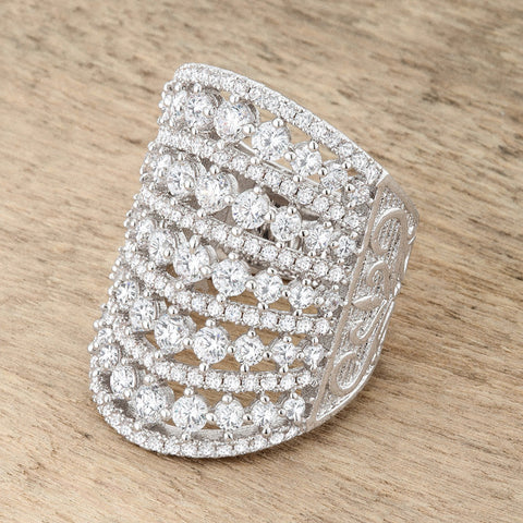 Charlyn Art Deco Cluster Statement Cocktail Ring | 7 Carat | Cubic Zirconia - Beloved Sparkles