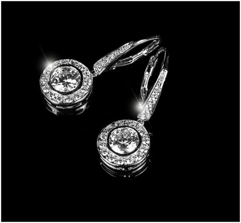 Elsa Round Halo Dangle Earrings | 3ct | Cubic Zirconia | Silver